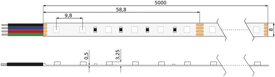 Technische Zeichnung eines Constaled RGB LED-Stripes