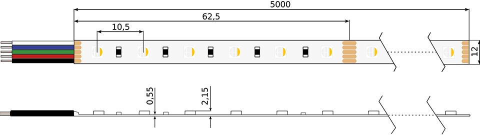 Technische Zeichnung eines Constaled RGBWW LED-Stripes